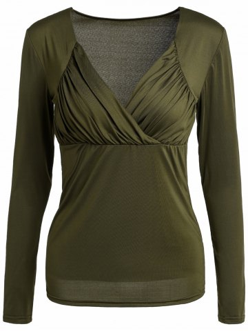 Large BLACKISH GREEN Sweetheart Neck Long Sleeve Ruched Solid Color T Shirt