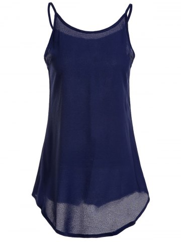 Affordable Simple Spaghetti Strap Pure Color Tank Top For Women - L SAPPHIRE BLUE Mobile
