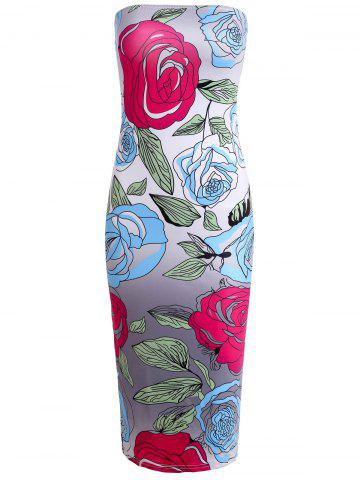 New Attractive Strapless Colorful Floral Printed Bodycon Midi Dress For Women
