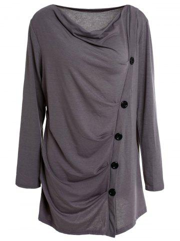 Large GRAY Cowl Neck Long Sleeve Draped Solid Color T Shirt