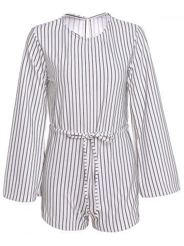 ONE SIZE(FIT SIZE XS TO M) WHITE AND BLACK Round Neck Long Sleeve Slit Striped Romper