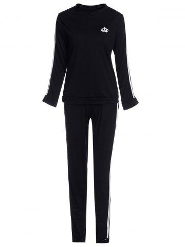 Sale Active Color Block Striped Pullover Sweatshirt and Bodycon Pants Twinset For Women BLACK S