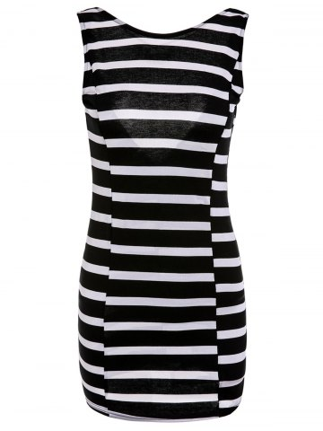 XL WHITE AND BLACK Striped V Shape Backless Bowknot Bodycon Mini Dress