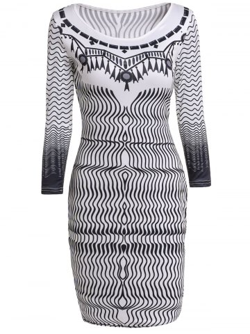 Small WHITE Round Collar Zigzag 3 4 Sleeve Dress For Women