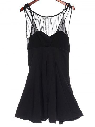 Fashion Sweet Round Collar Chiffon Spliced A-Line Sleeveless Dress For Women