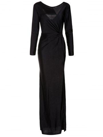 Long Sleeve High Slit Ruched Maxi Prom Dress - Black - One Size(fit Size Xs To M)