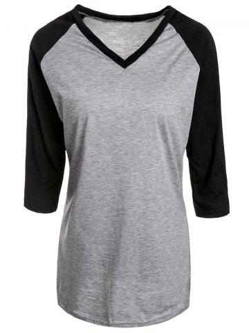 Fashion Simple Style V-Neck Color Spliced 3/4 Sleeve Pullover Baseball T-Shirt For Women
