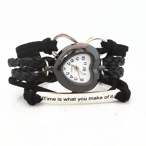 Multilayered Infinity Engraved Friendship Bracelet Watch - Black