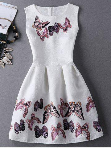 Jewel Neck Sleeveless Pleated Dress with Butterfly Print - White - S