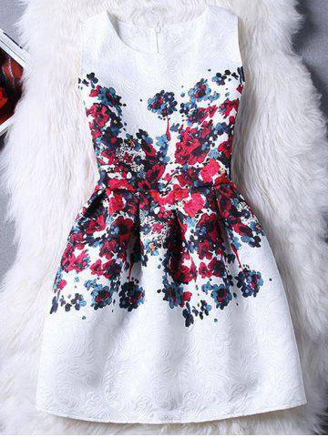Fancy Graceful Jewel Neck Sleeveless Jacquard Floral Print Dress For Women
