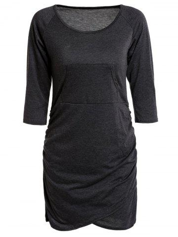 Outfits Sexy Low-Cut Scoop Neck Solid Color 3/4 Sleeve Asymmetric Bodycon Dress For Women BLACK GREY S