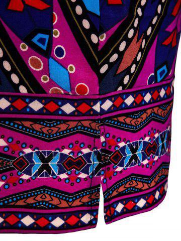 Shops Stylish Lace-Up V-Neck Colorful Ethnic Print 3/4 Sleeve Dress For Women - S COLORMIX Mobile