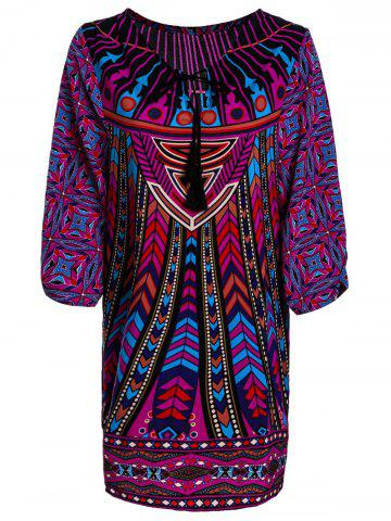 Discount Stylish Lace-Up V-Neck Colorful Ethnic Print 3/4 Sleeve Dress For Women - S COLORMIX Mobile