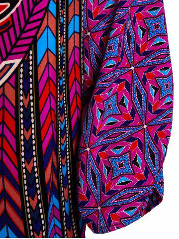 Discount Stylish Lace-Up V-Neck Colorful Ethnic Print 3/4 Sleeve Dress For Women - L COLORMIX Mobile
