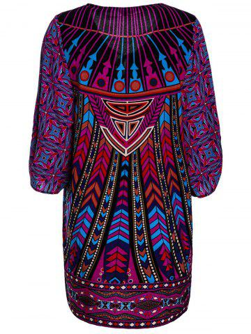 Outfit Stylish Lace-Up V-Neck Colorful Ethnic Print 3/4 Sleeve Dress For Women - L COLORMIX Mobile