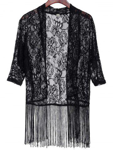 Affordable Fashionable Lace Embroidered Tassel Spliced Half Sleeve Kimono Cardigan For Women