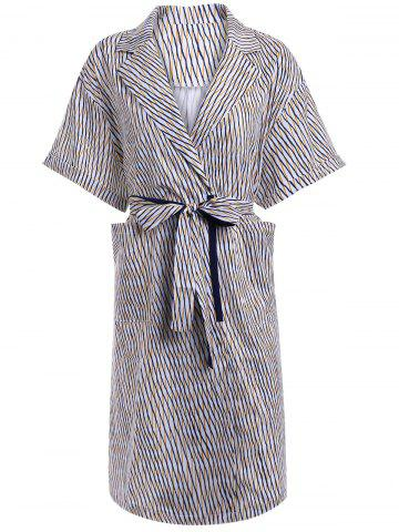 Cheap Trendy Stripe Short Sleeve Pocket Self Tie Shirt Dress For Women