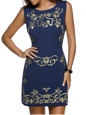 Fashion Trendy Round Neck Sleeveless Floral Embroidery Skinny Slimming Women's Dress