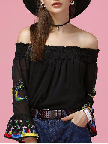 Affordable Refreshing Women's Flare Sleeve Off The Shoulder Blouse BLACK XL