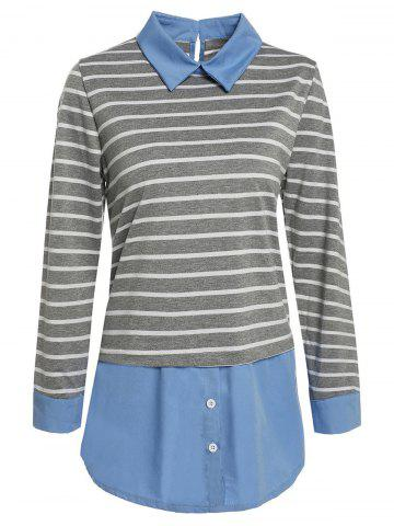 Flat Collar Color Block Striped Faux Twinset Plus SizeBlouse