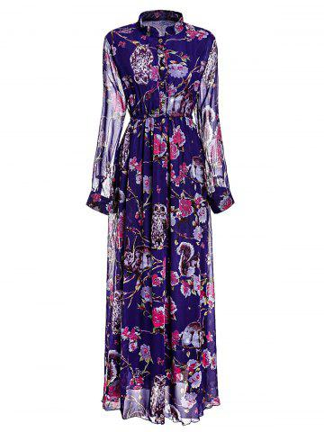 XL PURPLE Floral Printed Stand Collar Layered Pleated Maxi Chiffon Dress