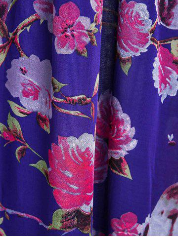 Affordable Floral Printed Maxi Chiffon Dress with Sleeves - 3XL PURPLE Mobile