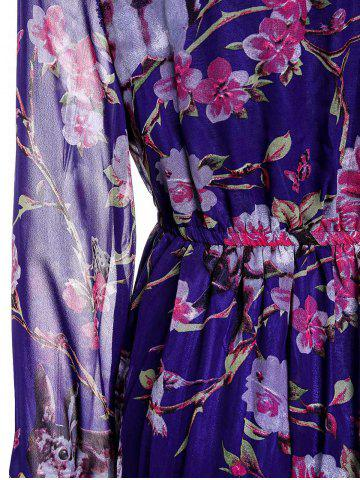 Cheap Floral Printed Maxi Chiffon Dress with Sleeves - 3XL PURPLE Mobile