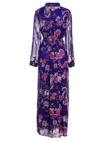 Hot Floral Printed Maxi Chiffon Dress with Sleeves - 3XL PURPLE Mobile
