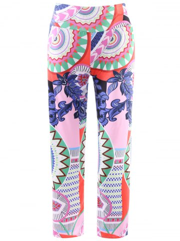 Hot Fashionable Elastic Waist Printed Loose-Fitting Women's Exumas Pants COLORMIX M