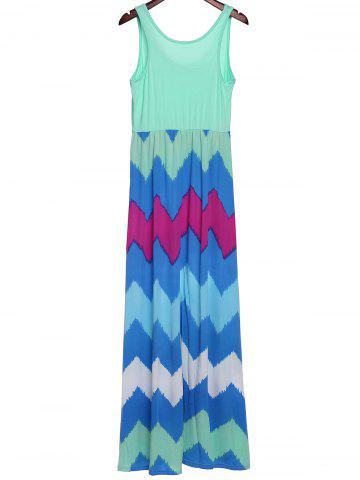 Outfit Bohemian Scoop Neck Zigzag Sleeveless Dress For Women - S GREEN Mobile