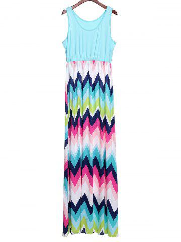 Chic Bohemian Scoop Neck Zigzag Sleeveless Dress For Women - XL COLORFUL Mobile