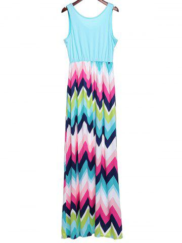 Latest Bohemian Scoop Neck Zigzag Sleeveless Dress For Women - XL COLORFUL Mobile