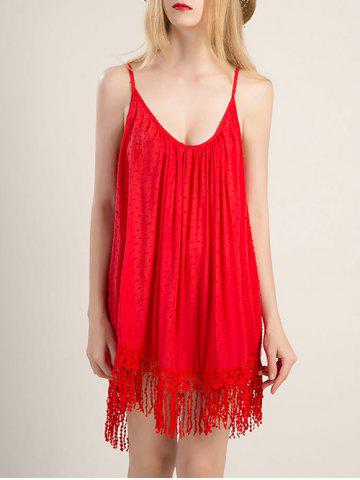 Latest Spaghetti Strap Fringe Design Flapper Dress RED XL