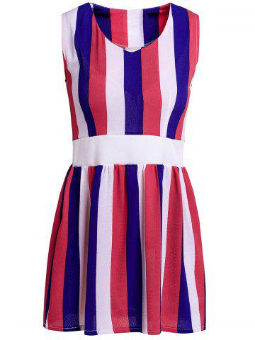 Trendy Stylish V-Neck Sleeveless Striped Colored A-Line Bowkont Women's Dress BLUE AND WHITE ONE SIZE(FIT SIZE XS TO M)