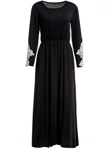 Shops Stylish Scoop Collar Long Sleeve Appliques Design Women's Maxi Dress BLACK M