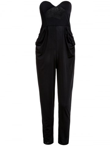 Shops Stylish Strapless Sleeveless Pocket Design Solid Color Women's Jumpsuit BLACK M