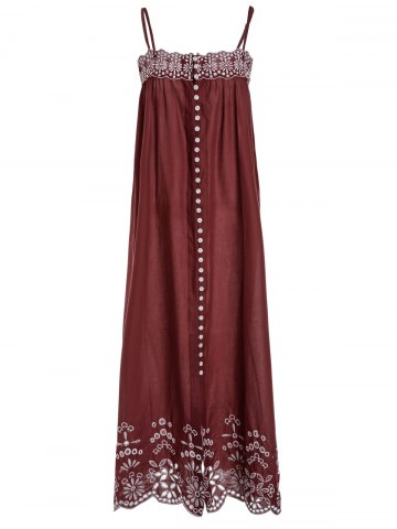Latest Ethnic Style Sleeveless Spaghetti Strap Embroidered Women's Dress