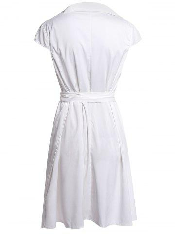 Best Stylish Turn-Down Neck Short Sleeve Solid Color Lace-Up Women's Dress - M WHITE Mobile