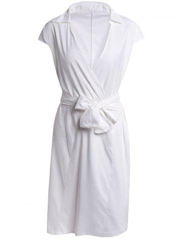 Unique Stylish Turn-Down Neck Short Sleeve Solid Color Lace-Up Women's Dress - M WHITE Mobile