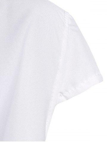 New Stylish Turn-Down Neck Short Sleeve Solid Color Lace-Up Women's Dress - M WHITE Mobile