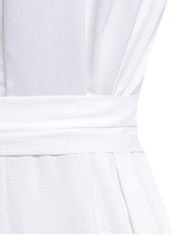 Outfits Stylish Turn-Down Neck Short Sleeve Solid Color Lace-Up Women's Dress - M WHITE Mobile