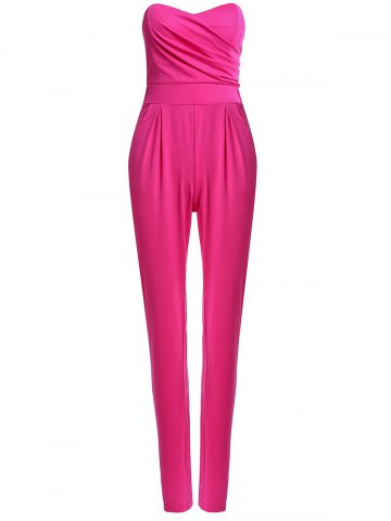 Discount Sexy Strapless Sleeveless Solid Color Pocket Design Women's Jumpsuit ROSE S
