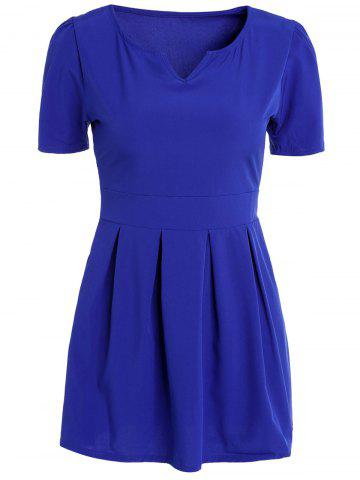 Large SAPPHIRE BLUE Solid Color V Neck Short Sleeve High Waist Pleated Mini Ball Dress