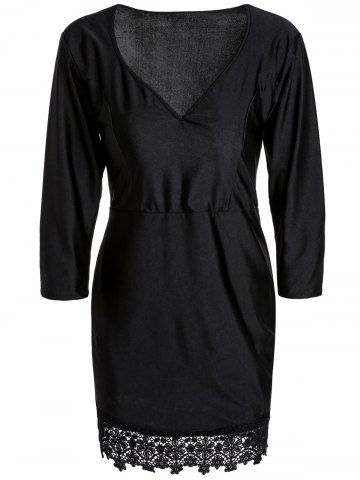 Small BLACK Black Plunging Neck 3 4 Sleeve Lace Hem Bodycon Dress