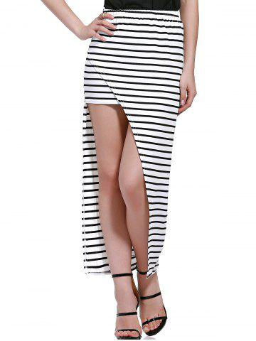 Outfits Stylish Elastic Waist Striped Asymmetric Women's Skirt
