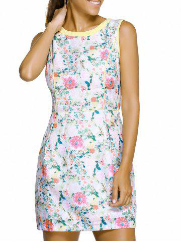 Discount Chic Round Neck Sleeveless Floral Print Spliced Slimming Women's Dress WHITE XL