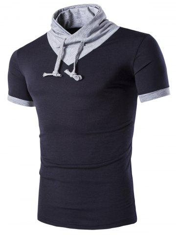 Chic Stand Collar Solid Color Short Sleeve T-Shirt For Men