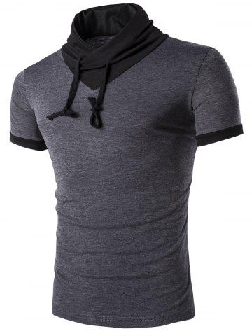 Trendy Stand Collar Solid Color Short Sleeve T-Shirt For Men