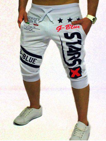 Cheap Letter and Star Printed Solid Color Lace-Up Jogger Shorts For Men WHITE 2XL