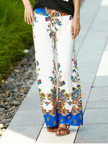 Best Palazzo Ethnic Floral Pants WHITE M